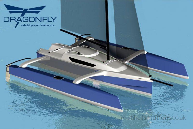 Dragonfly 25 folding trimaran - a fast multihull trailer-sailer with 3 berths, unsinkable folding trimaran