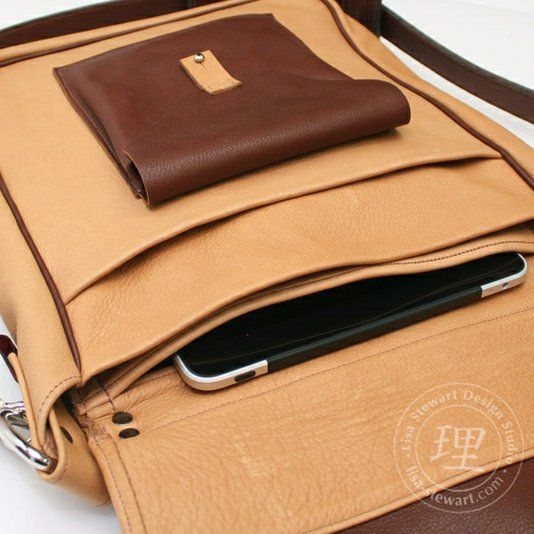 Hand Crafted Leather   Suede Messenger Long Laptop iPad Tech Bag by Lisa  Stewart Designs  ed28b3ed201cb