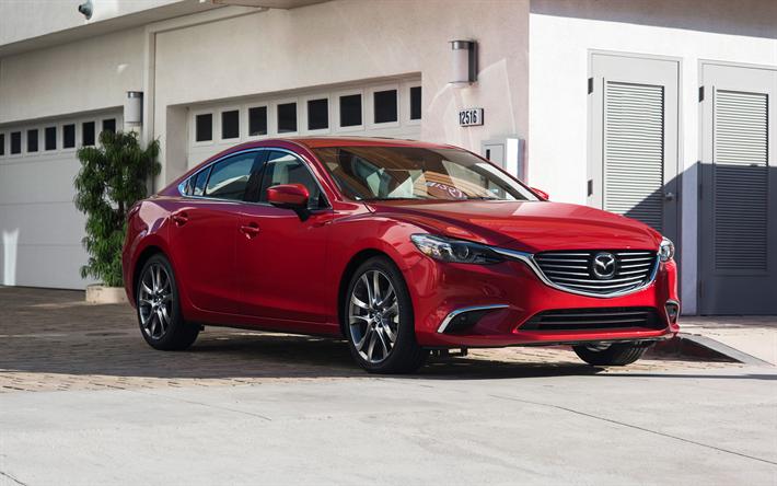 Herunterladen Hintergrundbild Mazda 6 2017 Limousine Rot