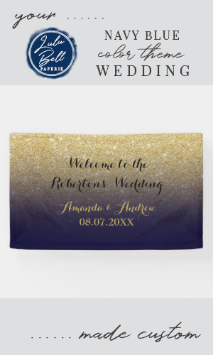 Chic faux gold glitter navy blue wedding banner