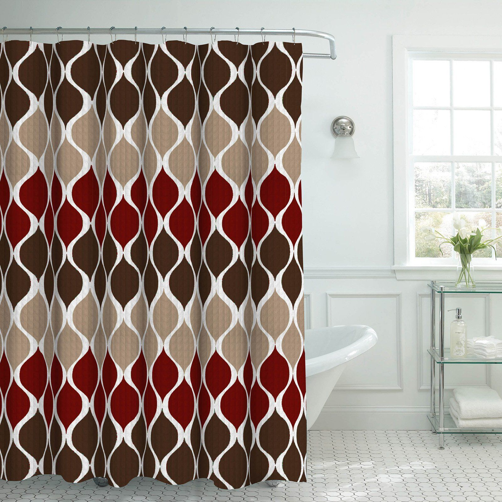 Creative Home Ideas Clarisse Faux Textured Shower Curtain Espresso