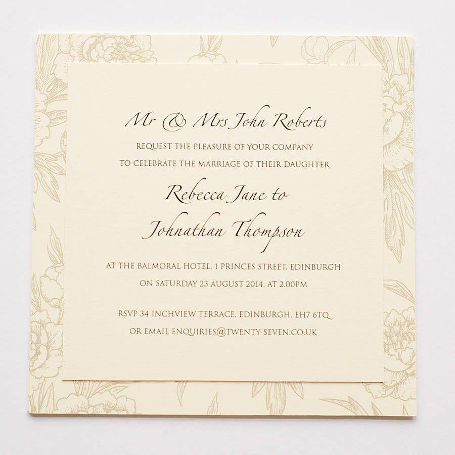 Peonies Layered Wedding Invitations | Dream Wedding | Pinterest ...