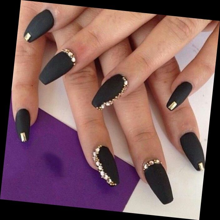 Black Nails And Bling Image On We Heart It