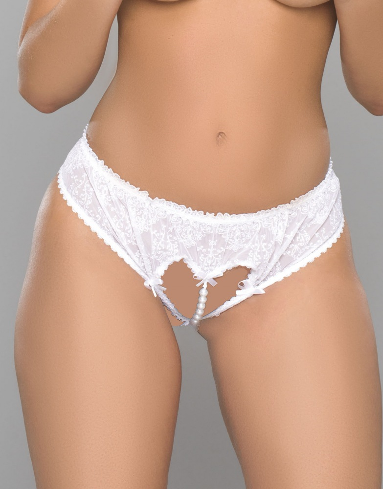 8be39f7de91 Stretch Embroidered Net Crotchless Panties Lingerie Sexy Panties. Stretch  Embroidered Lace and Faux Pearl beads