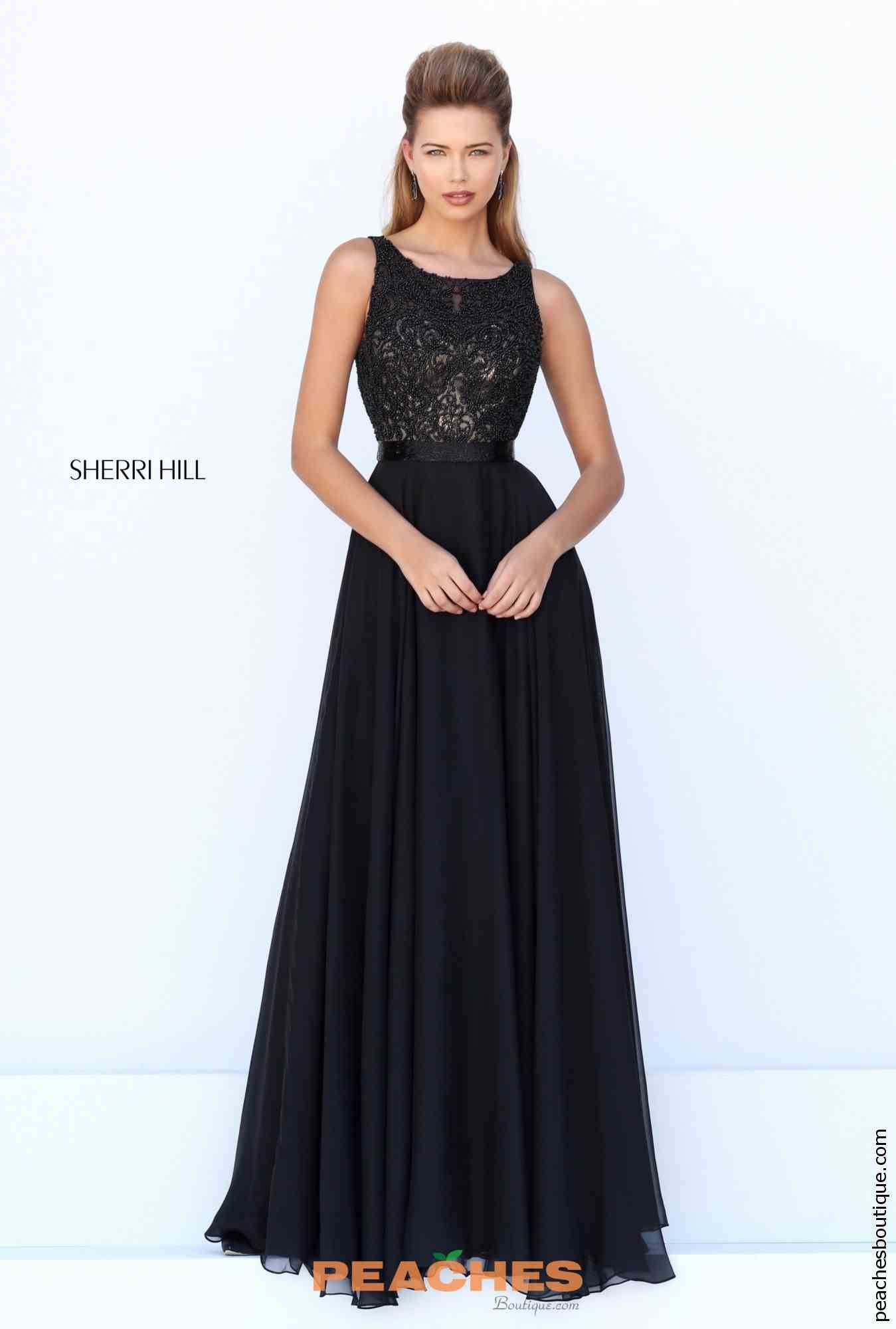 Size 00 Black Sherri Hill 50397 Beaded Long Prom Dress- This style from Sherri  Hill is a sleeveless long chiffon dress with a heavily beaded bodice and ...