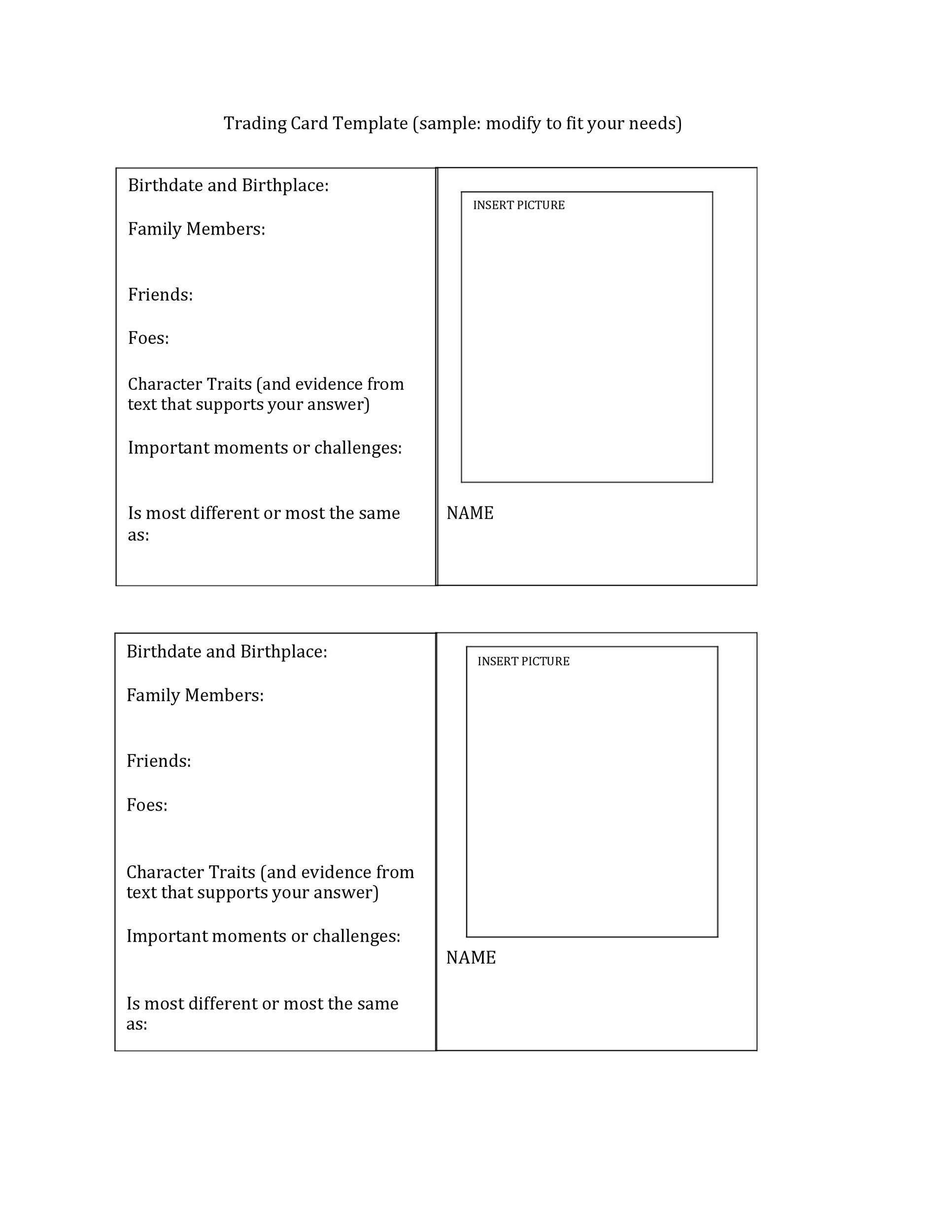 Blank Trading Card Template In 2021 Trading Card Template Baseball Card Template Place Card Template