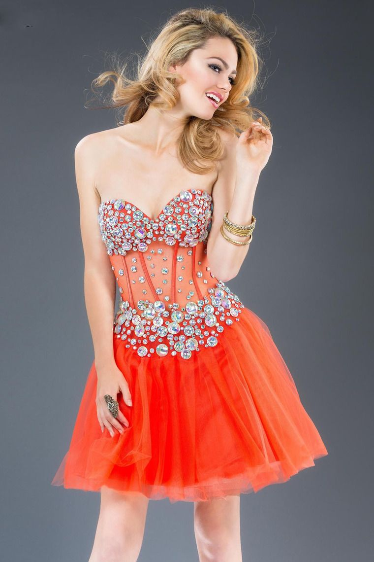 Orange short ball gown sweetheart organza mid back cocktail dress