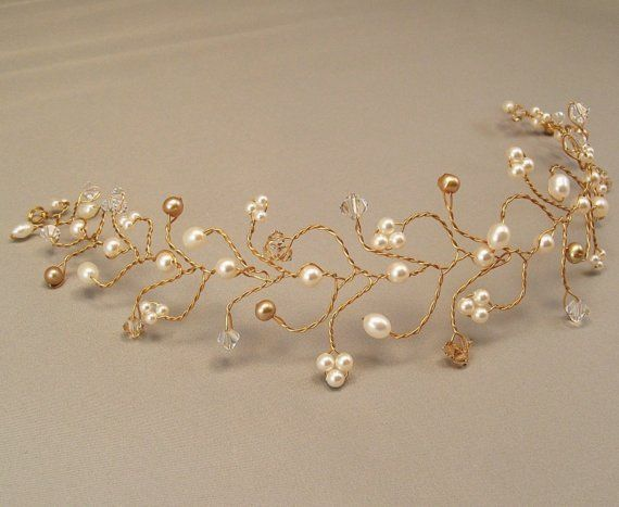 Tiara nupcial pelo vid boda accesorios para el por BridalDiamantes