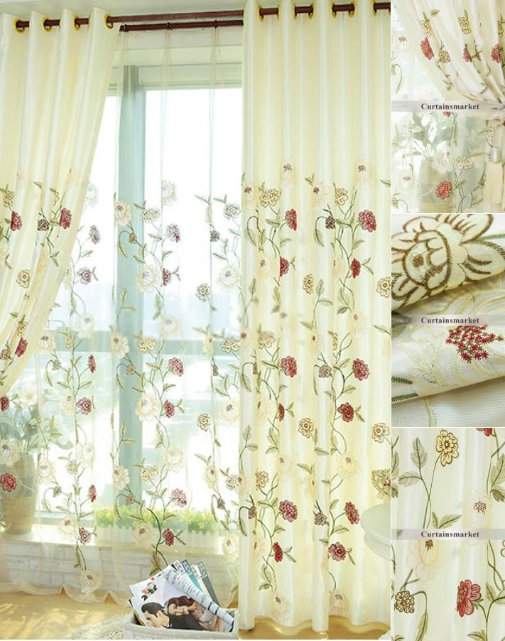 Embroidery Patterned Floral Elegant Living Room Curtains Designs Elegant Living Room Curtains Living Room Pastel Home Decor #pretty #curtains #for #living #room