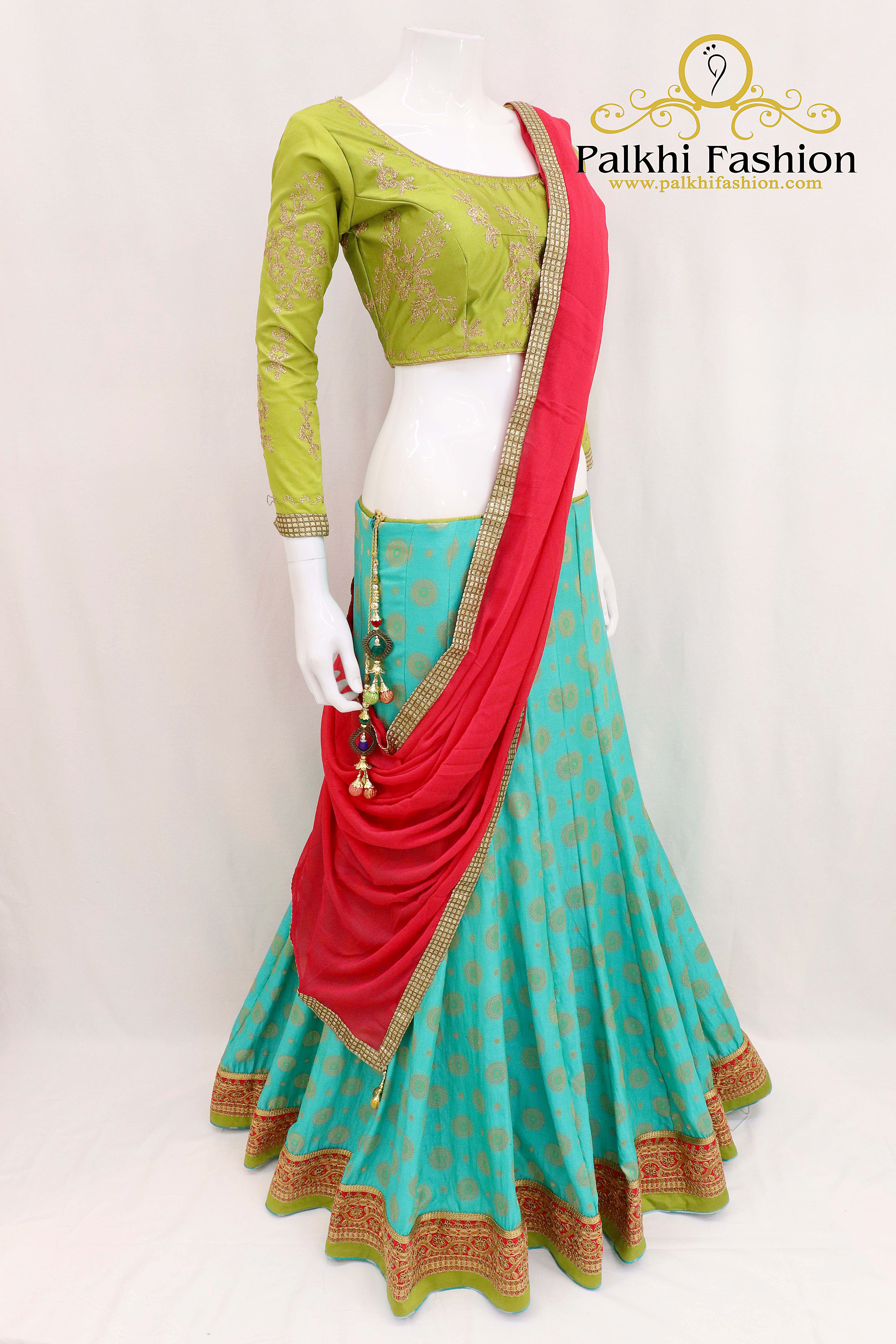 71c82f50a2 Teal Colored Georgette Chaniya Choli with Handwork Blouse Indian Designer  Outfits, Indian Outfits, Indian
