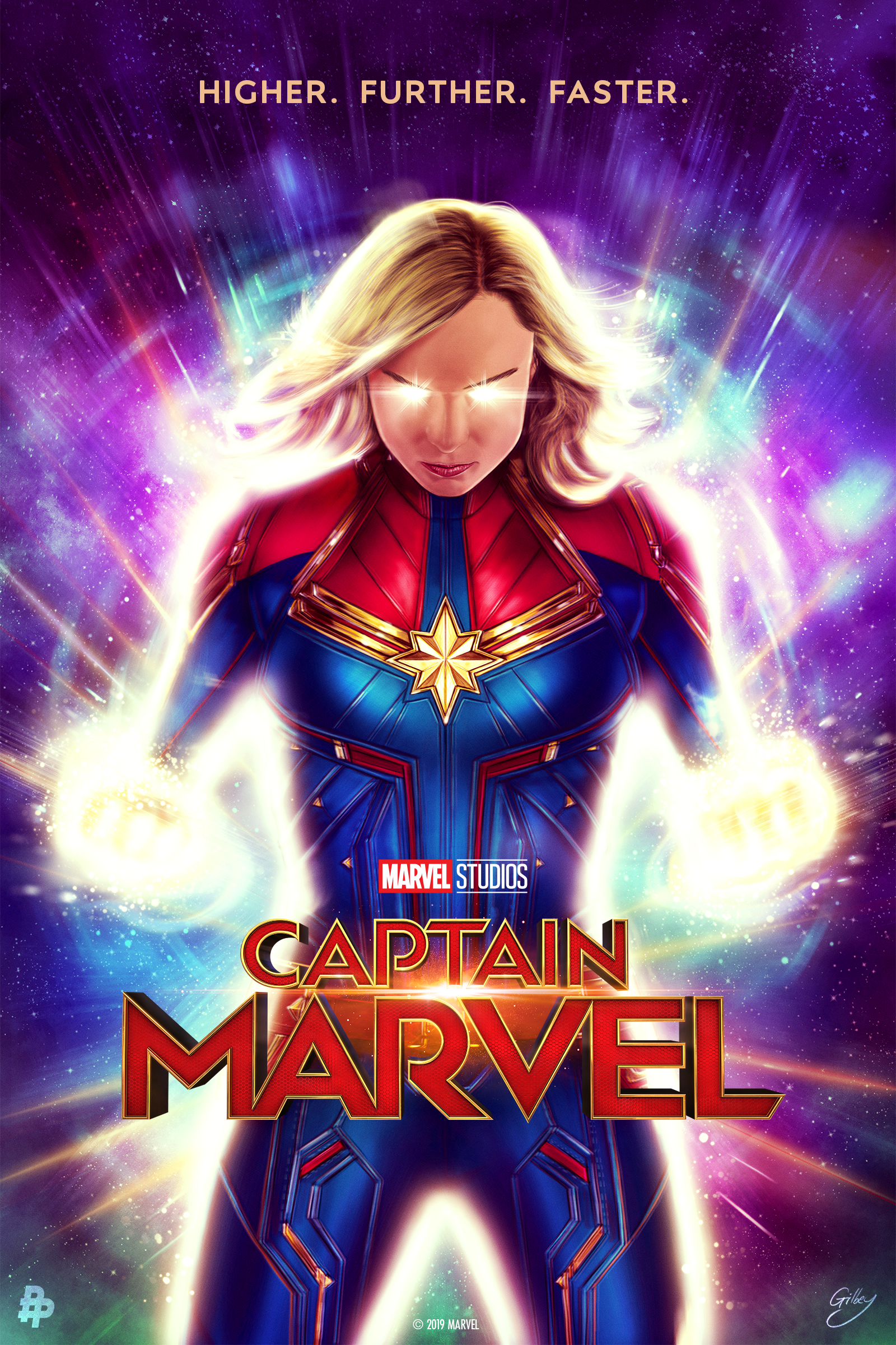 Here S Your Look At The Marvel Studios Captainmarvel Inspired Poster From Artist Sam Gilbey Art Captain Marvel Marvel Posters Marvel Movies