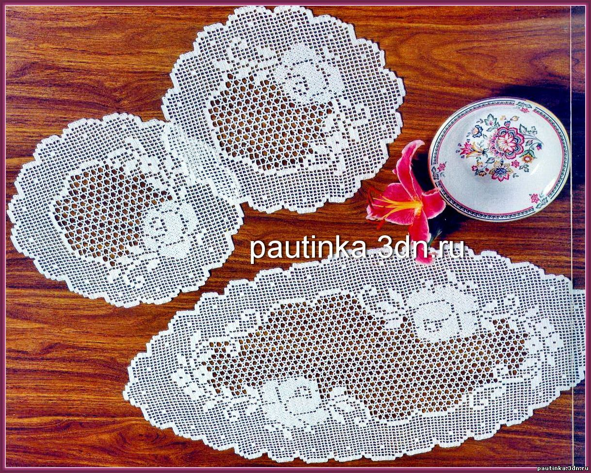 63Схемы вязания круглых салфеток спицами