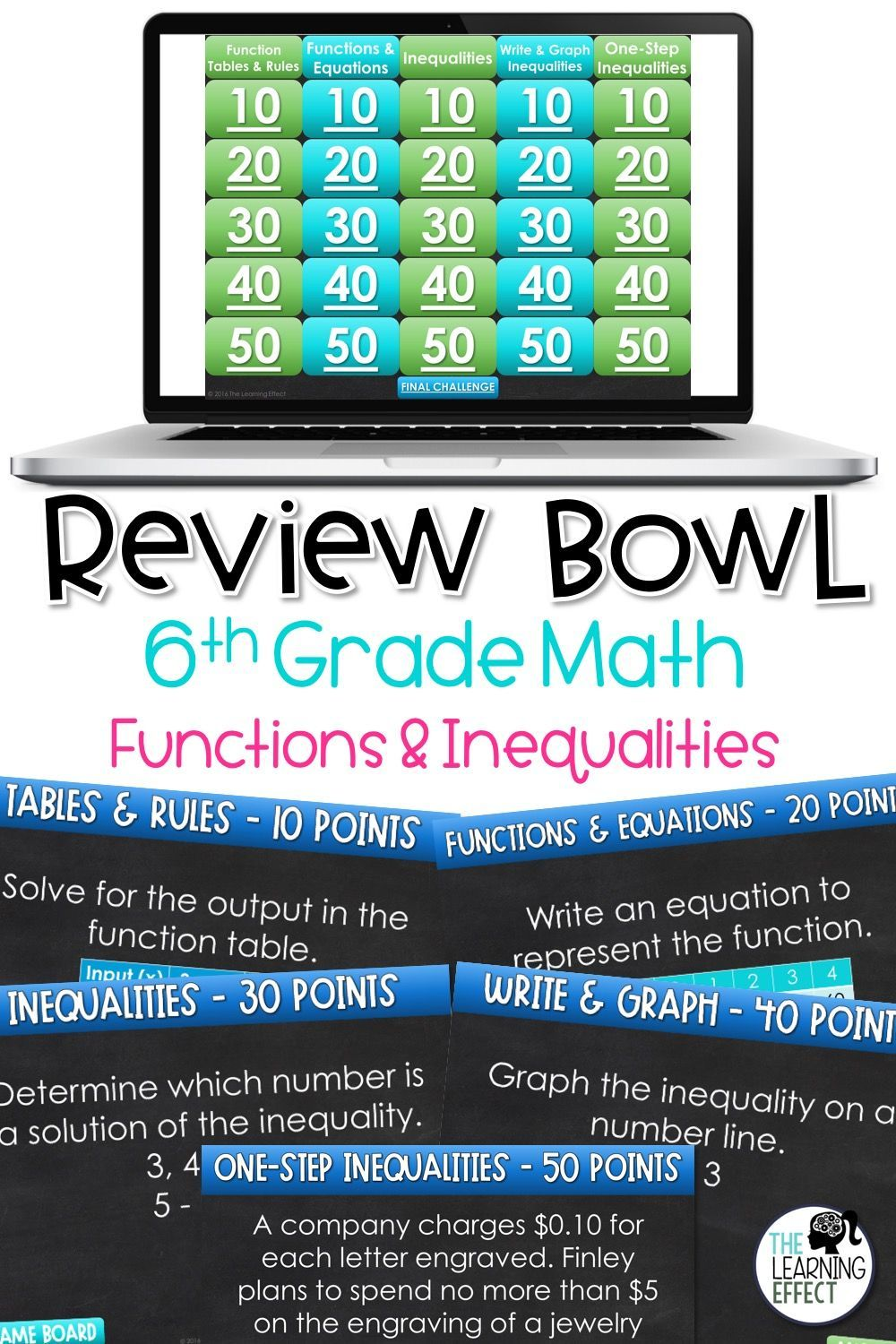 Functions and inequalities game show 6th grade