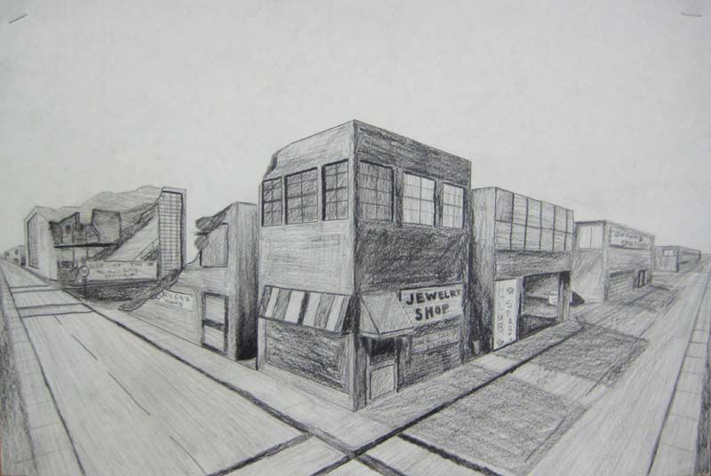 Line Drawing With Shading : Week pin shows good linear perspective and it is even