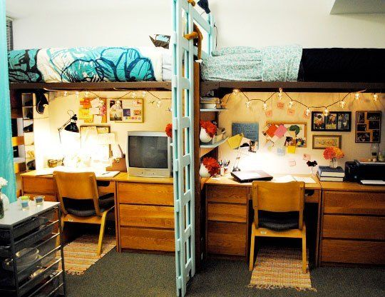 Loft Beds Next To Each Other To Maximize The Floor Space And Separate With  A Custom. Dorm Room LayoutsDorm ... Part 19