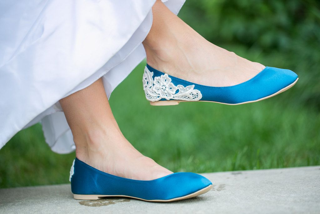 Wedding Flats Navy Blue Shoes Satin With Ivory Lace Us Size 10 67 00 Via Etsy Pinterest
