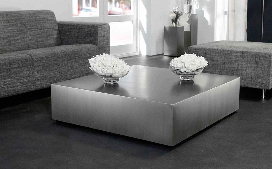 Table basse carrée en acier brossé design FREYA | Coffee Table ...