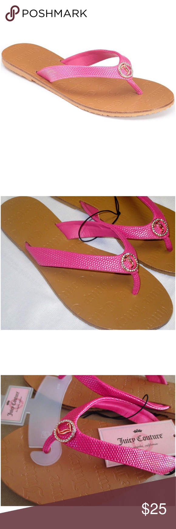 Juicy Couture Pink Rhinestone Thong Sandals Juicy Couture iridescent pink with rhinestone logo charm thong flip flop sandals will add pep to your step!    Sandals Feature Thong design, Logo on bottoms, rhinestone logo. Sandal Construction Faux-leather upper & lining TPR outsole Sandal Details Open toe Slip-on Padded footbed.    *ALSO AVAILABLE IN WHITE & BLACK IN SEPARATE LISTING TO BUY & BUNDLE!  *M (7-8)  CLOSET RULES: Bundle Discounts * No Trades * Smoke free Juicy Couture Shoes Sandals