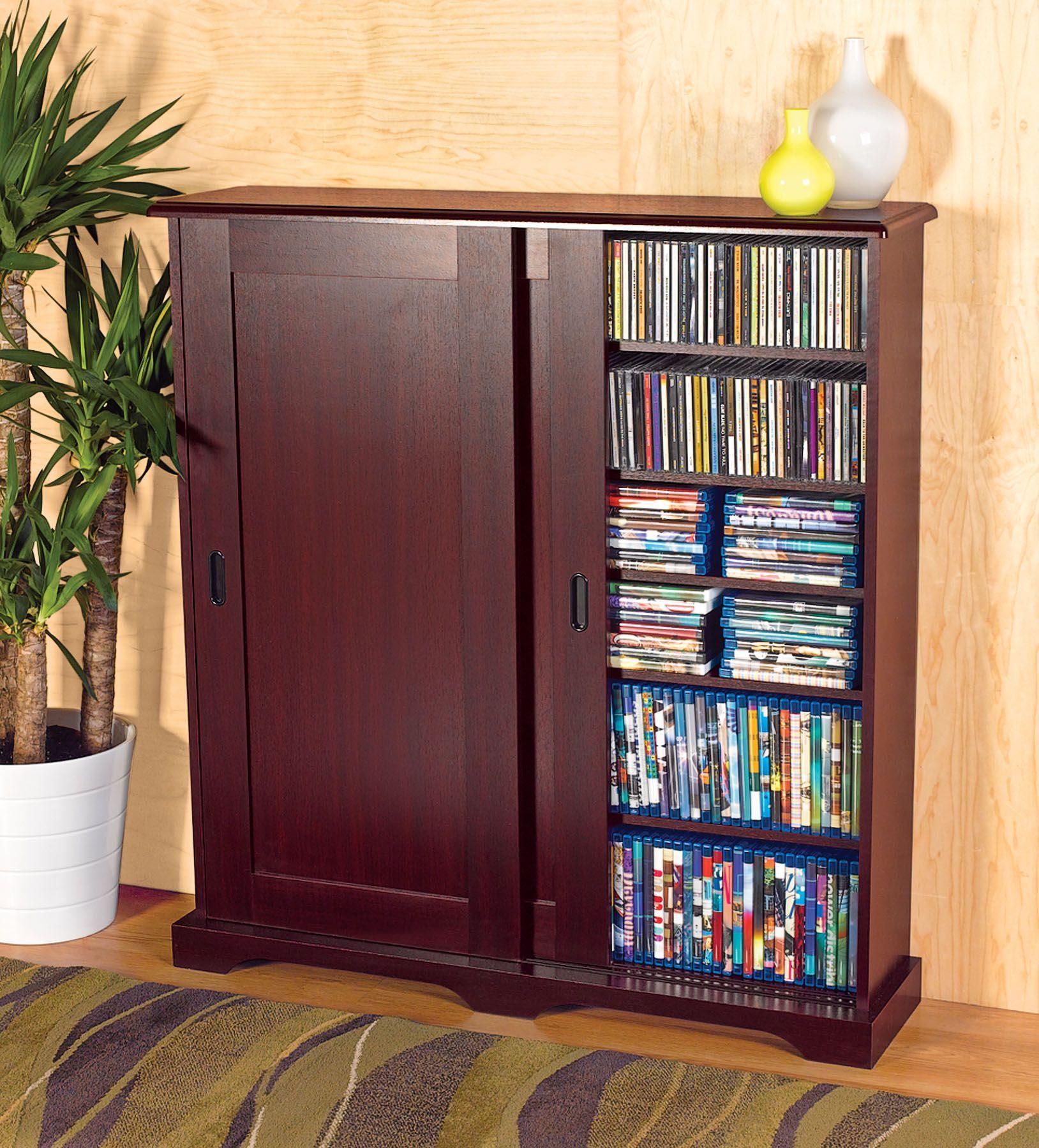 Fingerhut media storage with sliding doors dvd