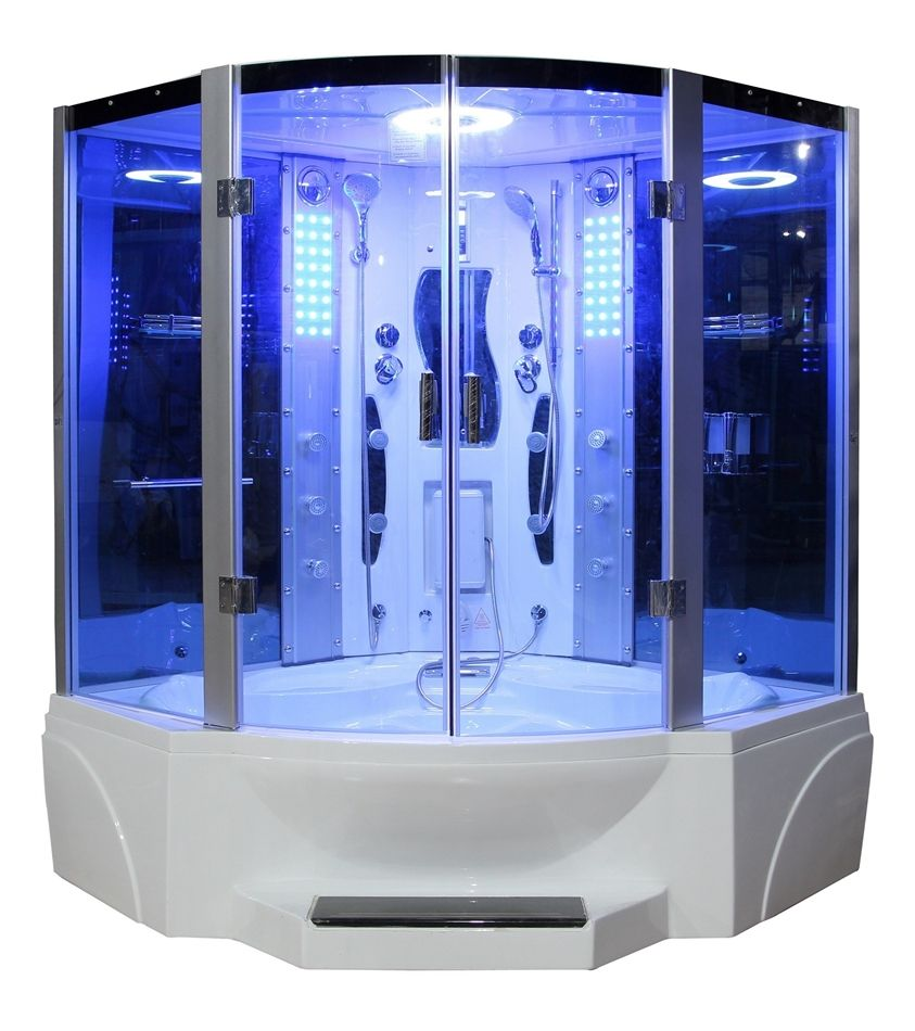 white elegant jetted tub shower combo with elegant blue glass door ...