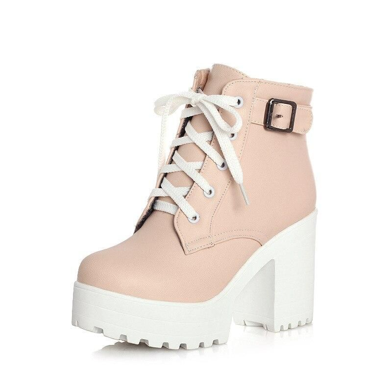 Ankle Buckle Women Boots Lacing Shoes Women Casual Square Heel