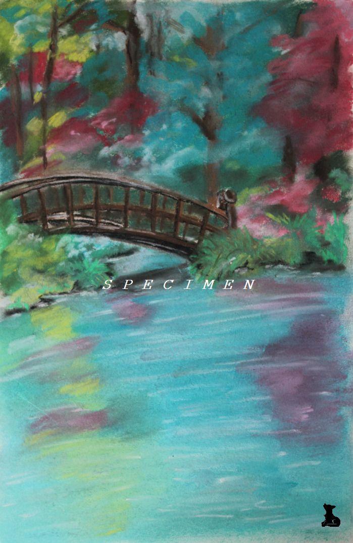 dessin paysage petit pont au pastel sec peintures par. Black Bedroom Furniture Sets. Home Design Ideas
