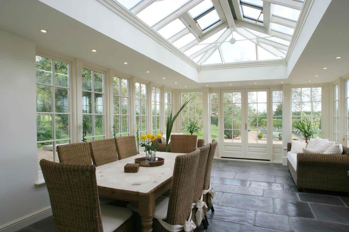 Wood conservatories bespoke made to measure wooden for Orangery lighting ideas