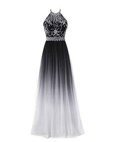 Hear Women's Halter Gradient Chiffon Long Prom Dress Ombr