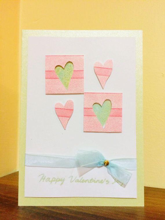Handmade Valentine's Card  Happy Valentine's Day by PandaVillage, £3.99