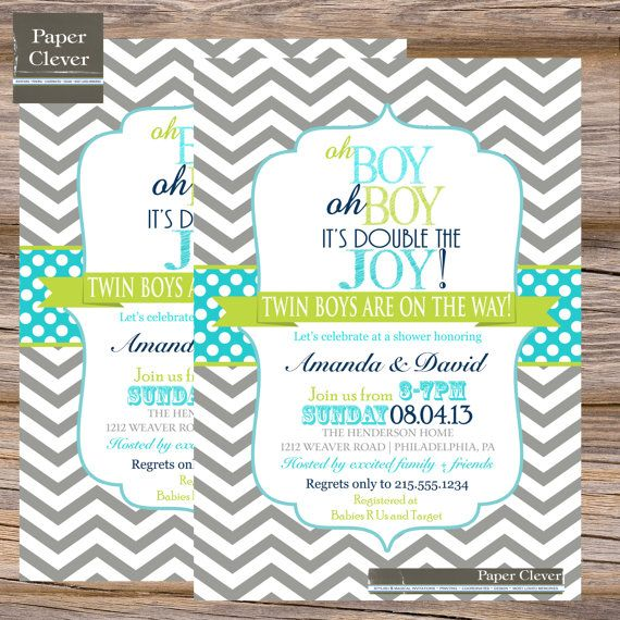 Twins Baby Shower Invitation Oh Boy Double Joy Digital Printable File 75 Twins Baby Shower Invitations Twin Boys Baby Shower Twins Baby Shower
