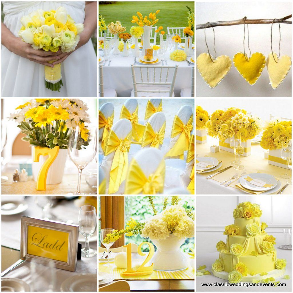 Yellow wedding ideas. The place card frames are adorable!