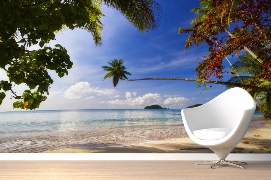 Caribbean beach wall murals wallpaper wallpapers for Custom mural wallpaper uk