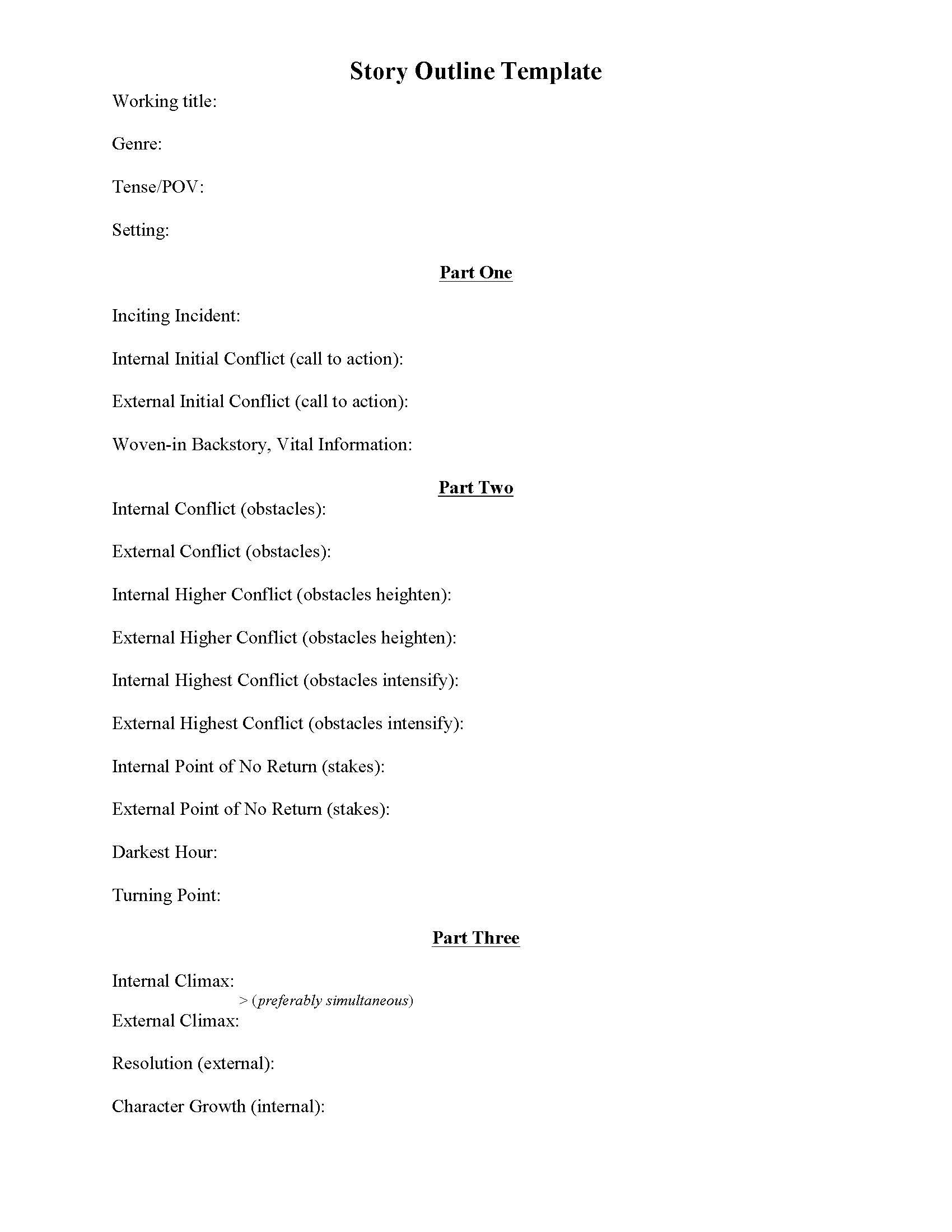 Story Outline Template Preview Jpg 1 700 2 200 Pixels Writing Outline Writing A Book Outline Writing Words