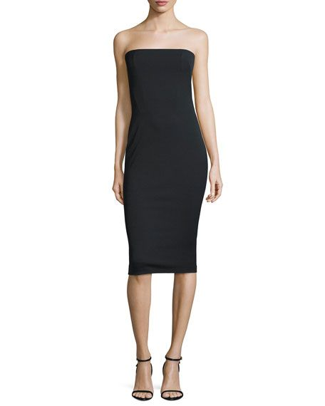 TOM FORD Fitted Strapless Faille Dress, Black