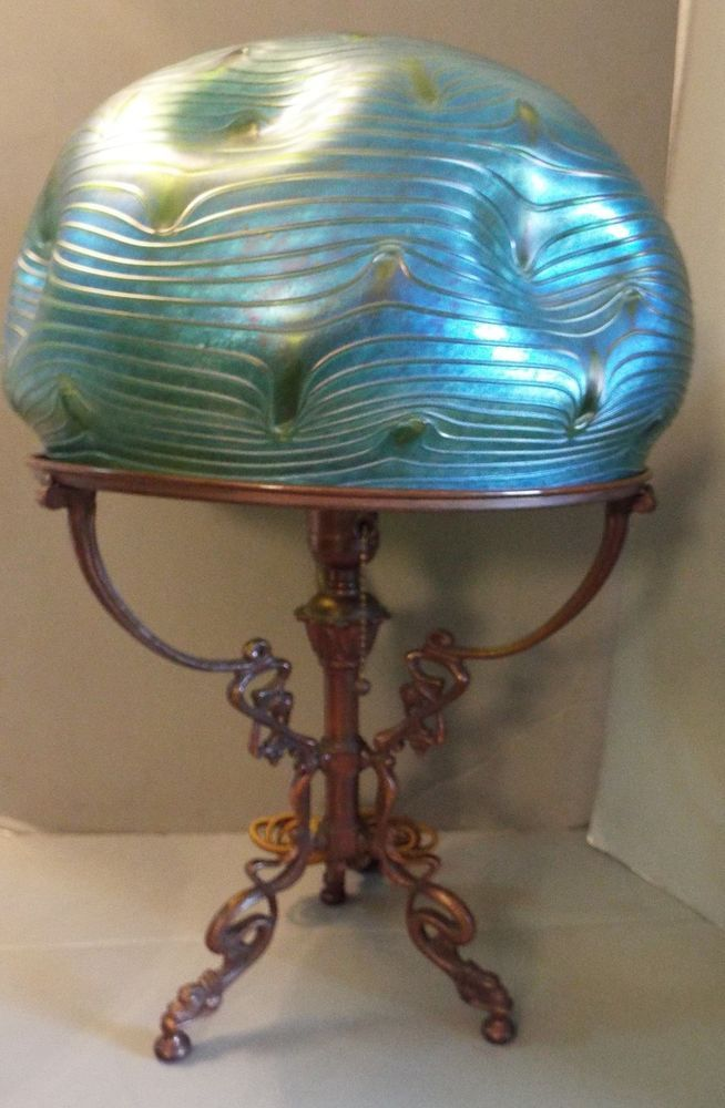 Art nouveau loetz formosa bohemian art glass lamp shade bronze base circa 1900 art nouveau lamp wbulbous bohemian shade attributed to loetz bronze base loetz formosa raised ribbing waves of two toned blue green aloadofball Images
