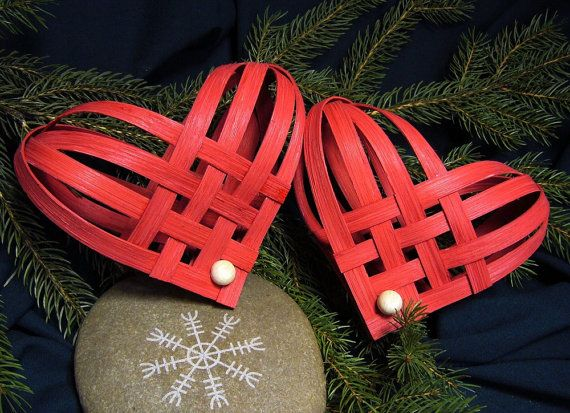 Hand Woven Red Nordic Heart by Harmonycraft on Etsy