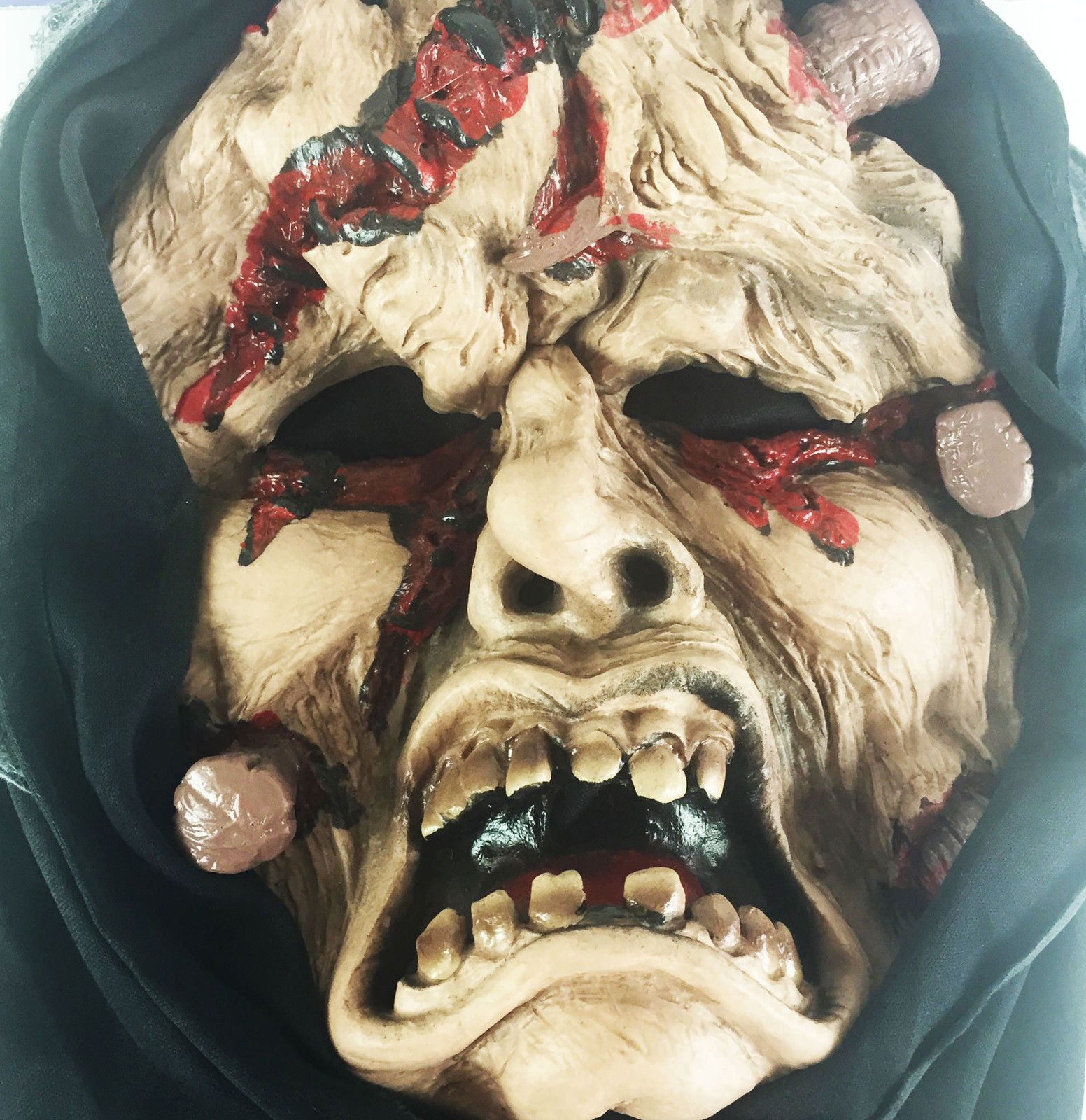 Wounded Zombie Full Face Mask With Hood Halloween Fancy Dress ...