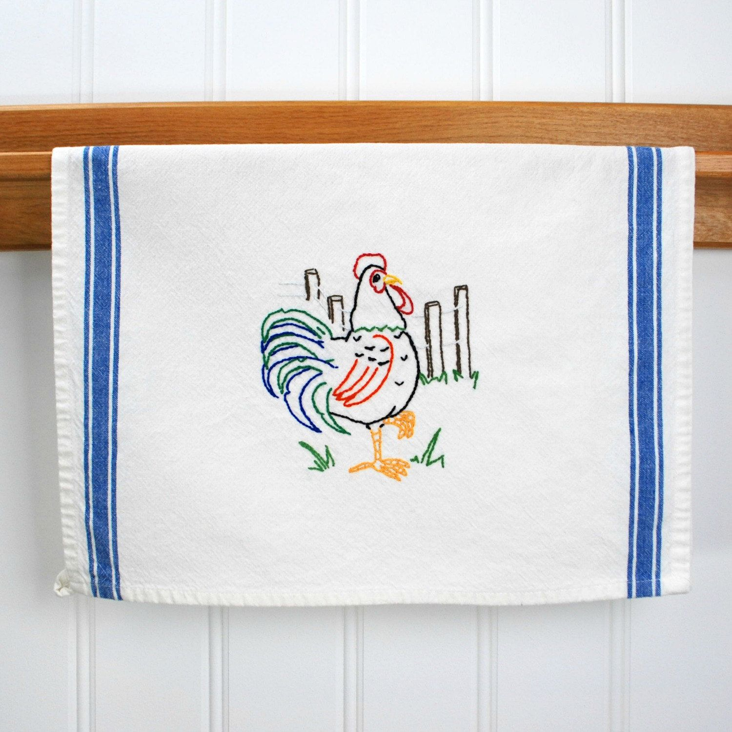 Rooster Dish Towel, Hand Embroidered Kitchen Towel, Rooster Kitchen ...