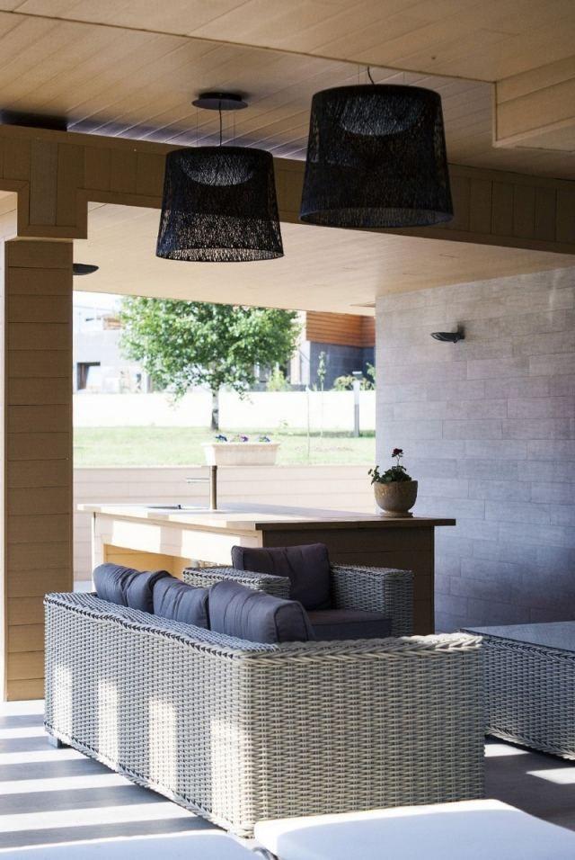 outdoor lampe h ngeleuchte design schwarz stoff schirm. Black Bedroom Furniture Sets. Home Design Ideas