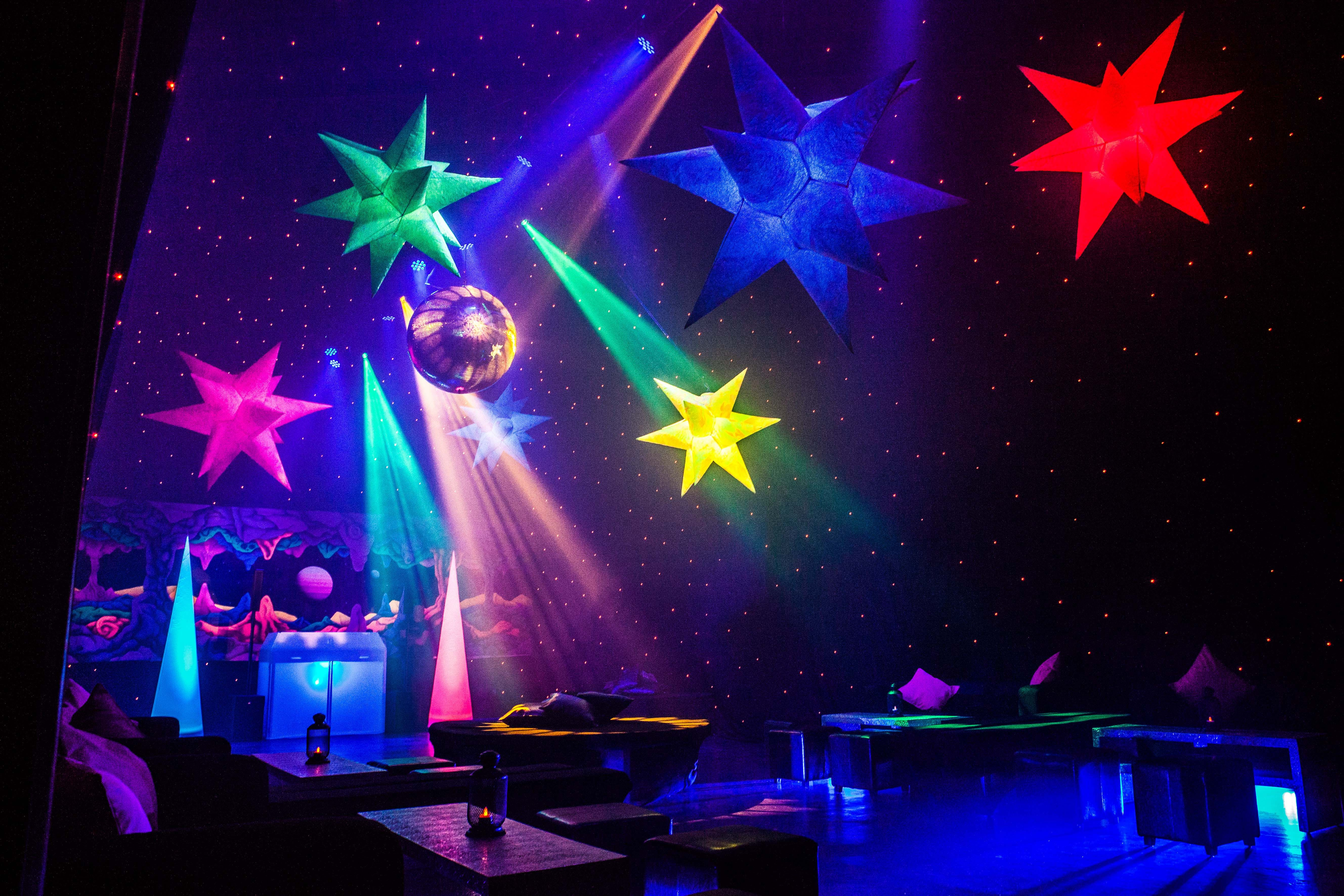 Space Themed Lamp Dance Lighting At A Space Themed 16th Birthday Party Www
