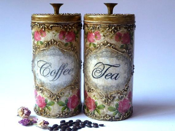 Canisters, Kitchen Organizer, Antique Canisters, Hand Painted Kitchen Set with Golden relievo, Shabby Chic Box, Custom Made Storage Boxes