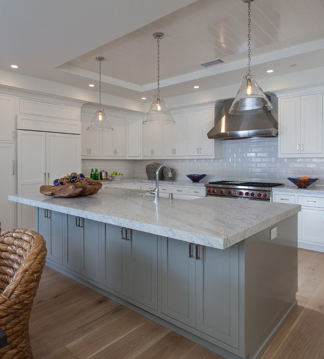 """California Kitchen Cabinets: The Island Paint Color Is Similar To """"Stonington Gray HC"""