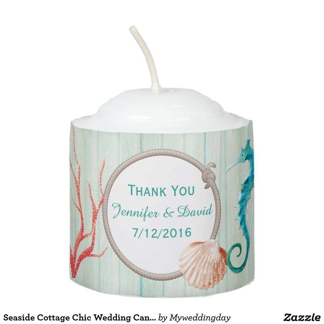 Seaside Cottage Chic Wedding Candle Favor