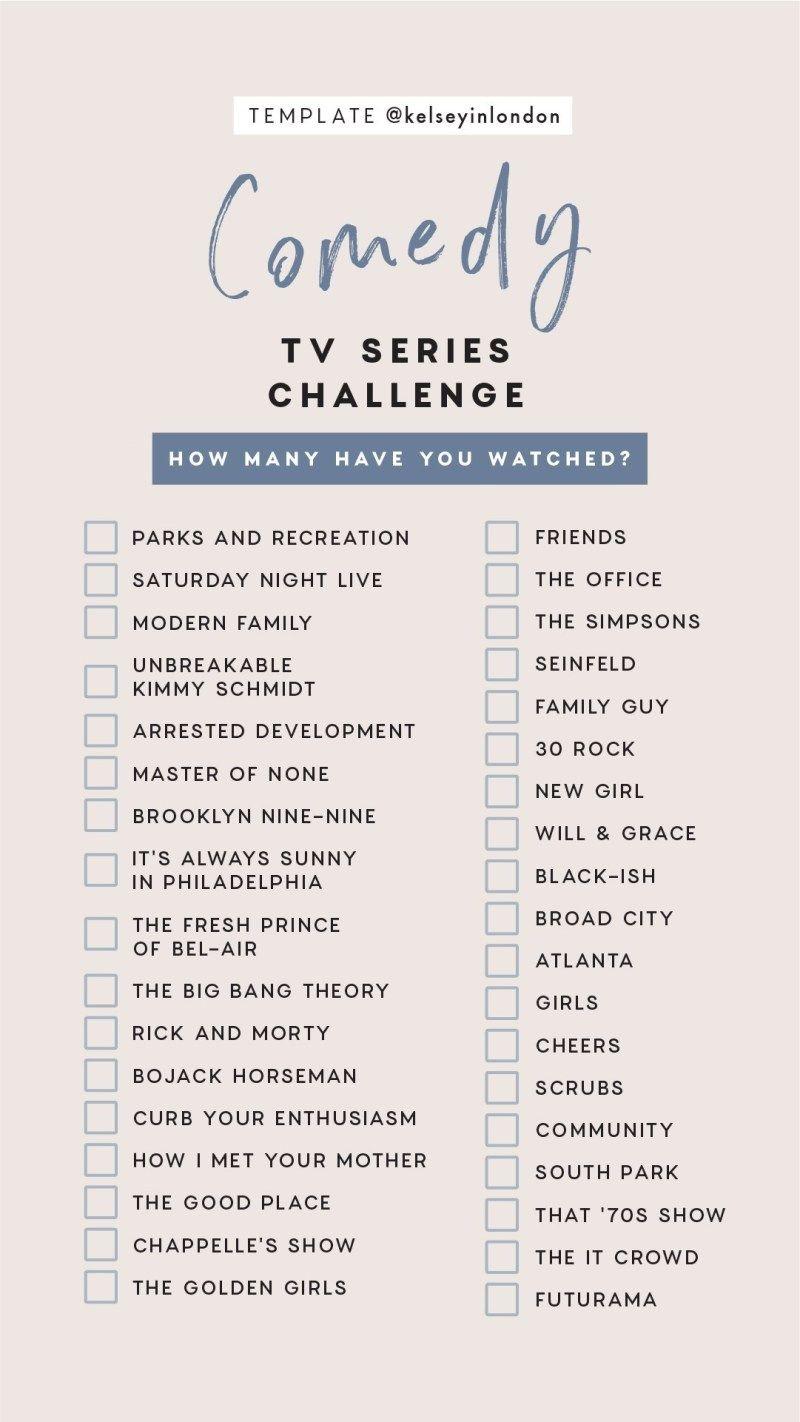 kelseyinlondon Instagram Story Templates Bucket lists best comedy tv