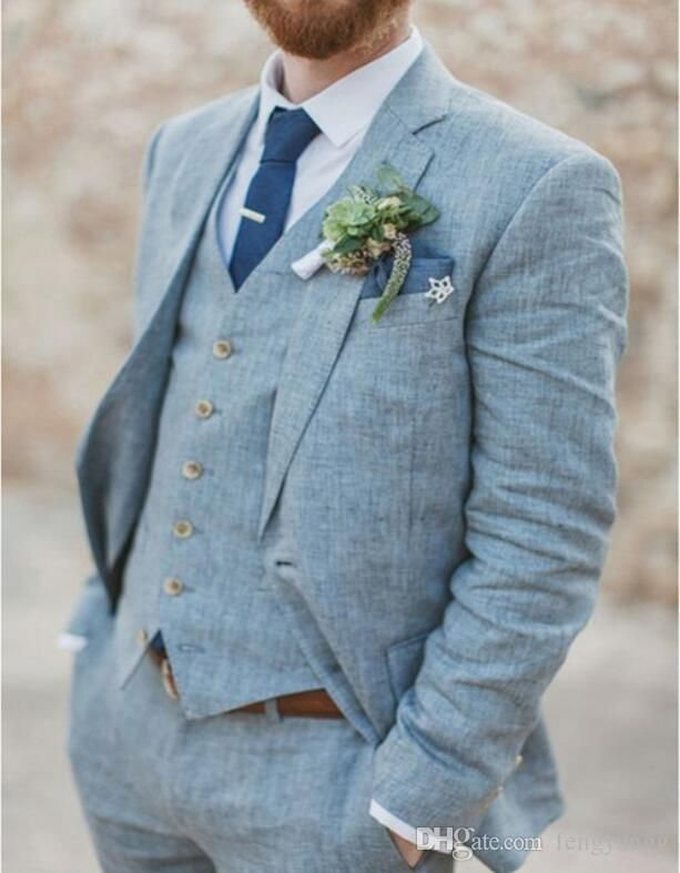 Spring Summer Light Blue Linen Men Suits Wedding Groom Tuxedos 3 Pieces 2 Buttons Groomsmen Suit (Jacket Vest Pants) Beach Wedding Suit Material: polyester. Color: as pictures.Style:trim fit. Size: tailor-made.wholesale and retail.if you have any question chat with me online,thank you. #summerdinneroutfits