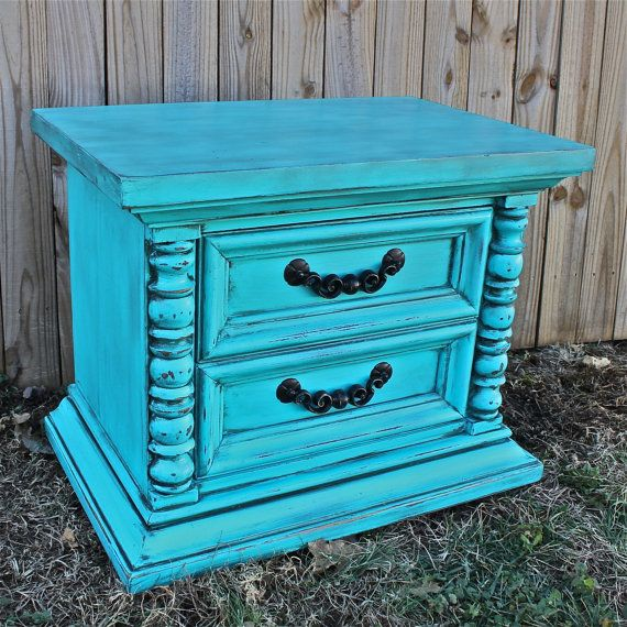 Vintage Blue Bedroom Bedroom End Tables Modern Master Bedroom Bed Designs Small Bedroom Decorating Ideas Pictures: Turquoise Night Stand/ Retro End Table /Accent TV Cabinet