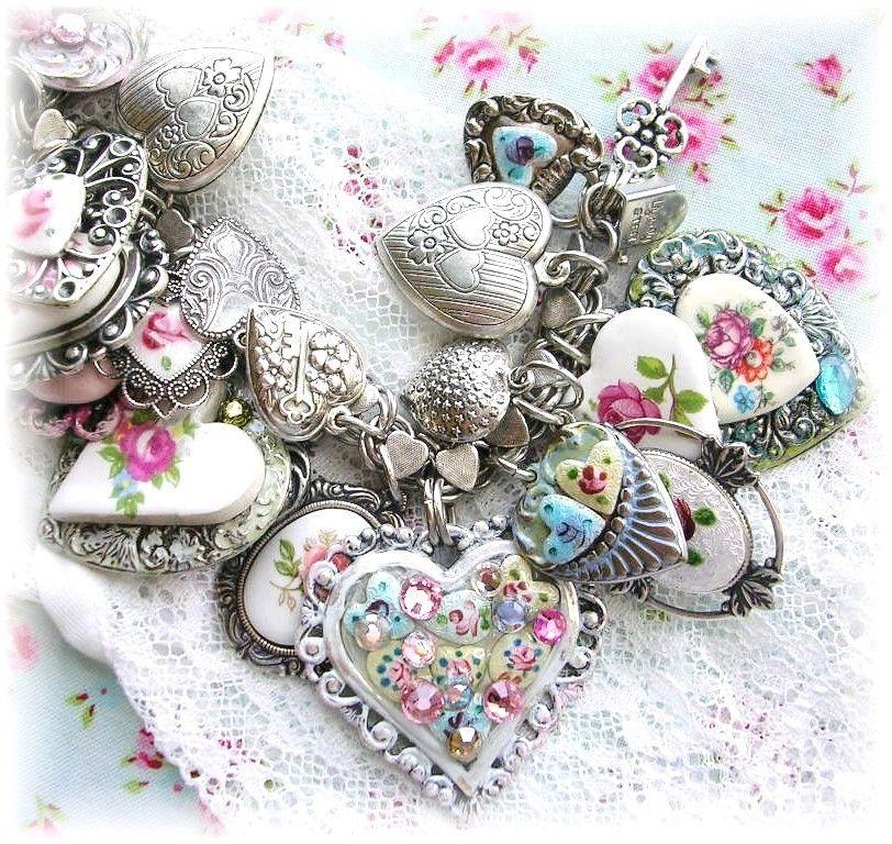 Vintage Sterling Silver Heart Charm Bracelet Guilloche Enamel Flowers Rose Cameo | eBay