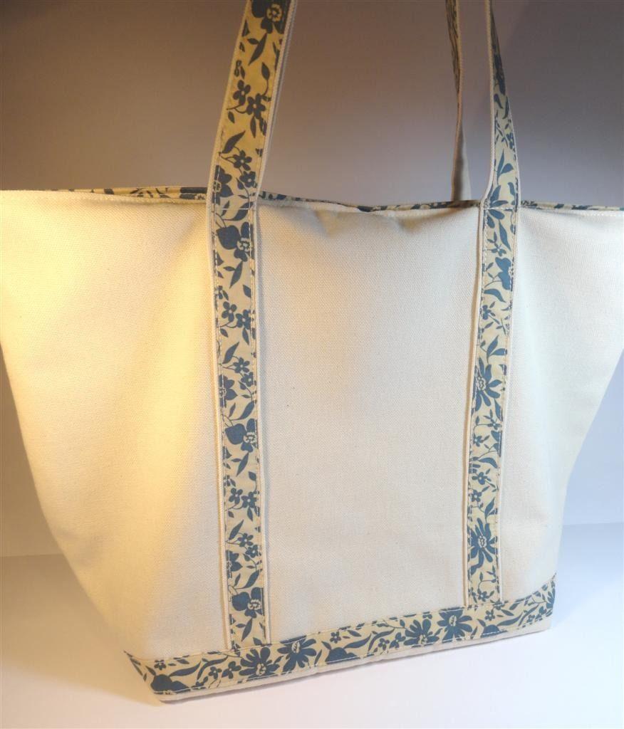 Cabas en toile écrue anses et intérieur tissu bleu et écru : Sacs à main par mademoiselle-rose