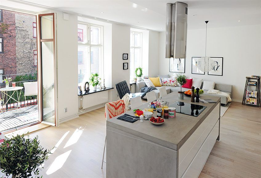 Scandinavian Design Beautiful And Bright Two Room Apartment In Central G Open Plan Kitchen Living Room Living Room And Kitchen Design Small Open Plan Kitchens