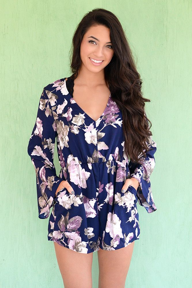 5d3e867a1dd Floral print romper  Yes please! This navy blue and purple printed romper  by C.luce is one you will never get tired of seeing! The fitted waistline  on this ...